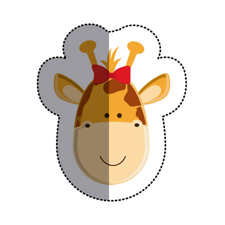 color sticker with female giraffe head and middle shadow vector illustration