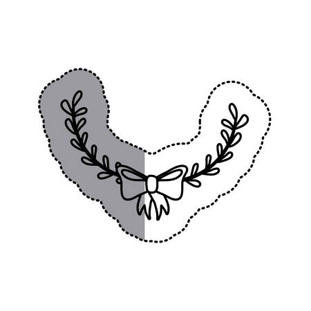 monochrome contour sticker with decorative half crown branch and topknot and middle shadow vector illustration