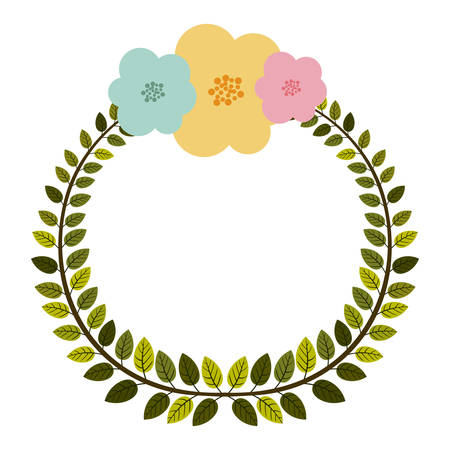 pastel flowers: colorful arch of leaves with pastel flowers vector illustration Illustration