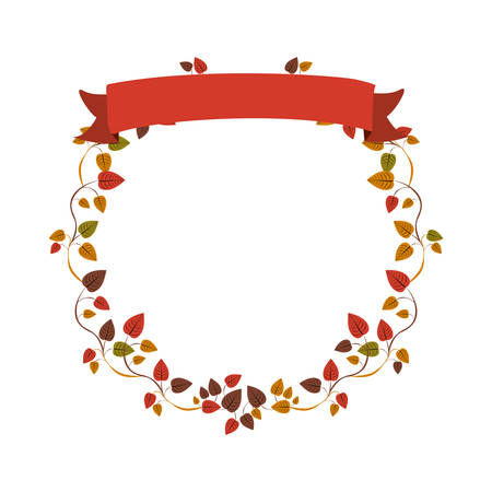 autumn ornament creepers with label vector illustration