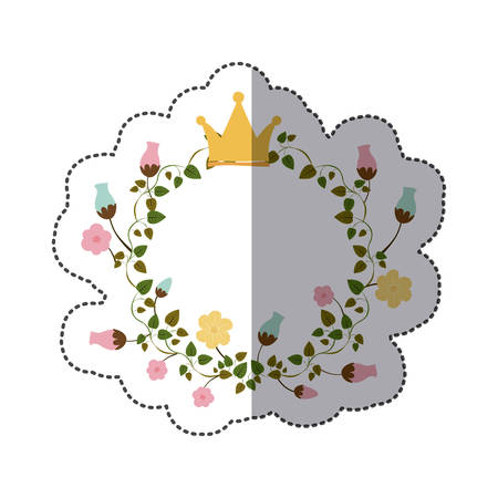 sticker colorful ornament creepers with flowers with crown vector illustration