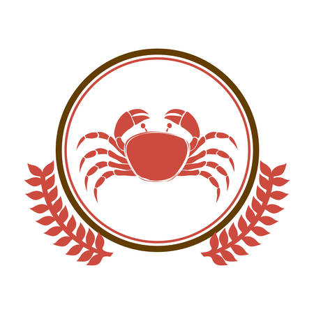 circular border with crown branch with crab vector illustration Illustration