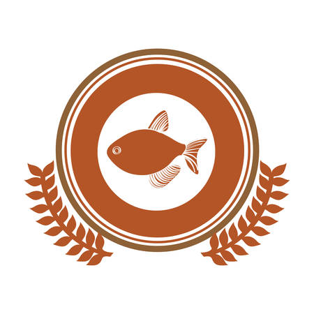 aquatic herb: circular stamp border with crown branch with fish