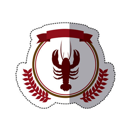 sticker circular border with crown branch with lobster and label vector illustration