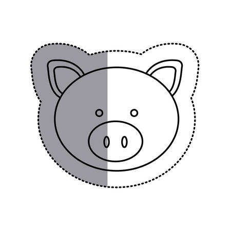 monochrome contour sticker with pig head and middle shadow vector illustration