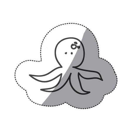 deepsea: sticker silhouette octopus animal marine design vector illustration