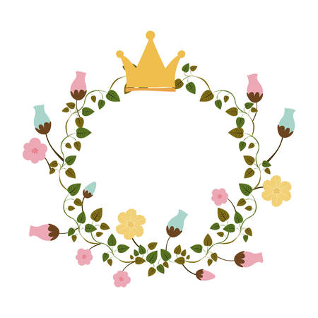 colorful ornament creepers with flowers with crown vector illustration Illustration