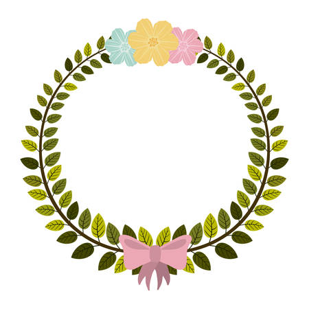 border of leaves with pink bow and flowers vector illustration Illustration
