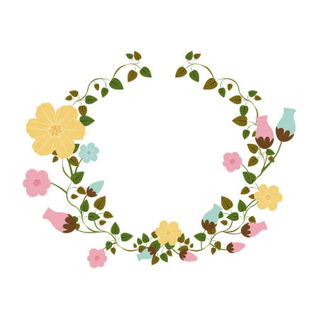 half ornament creepers with flowers vector illustration