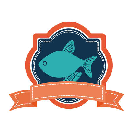 heraldic borders with crown branch with fish and label vector illustration Illustration