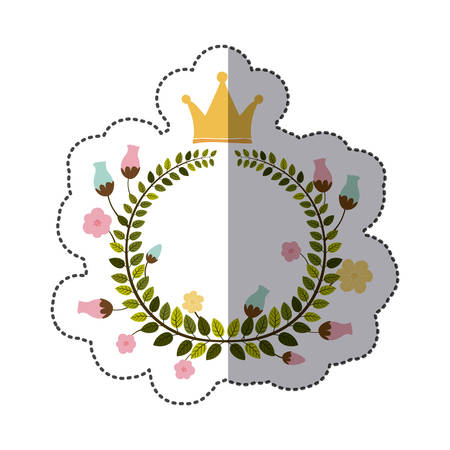 sticker colorful arch of leaves with flowers and crown vector illustration