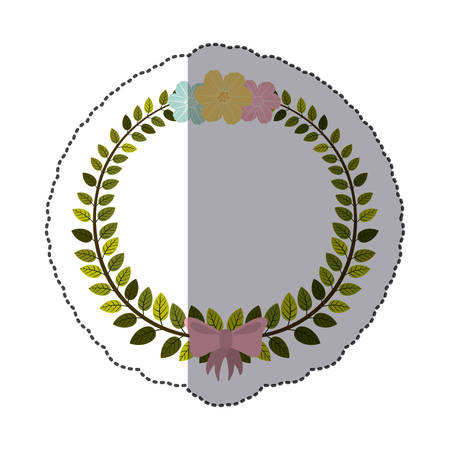 pink bow: sticker border of leaves with pink bow and flowers vector illustration