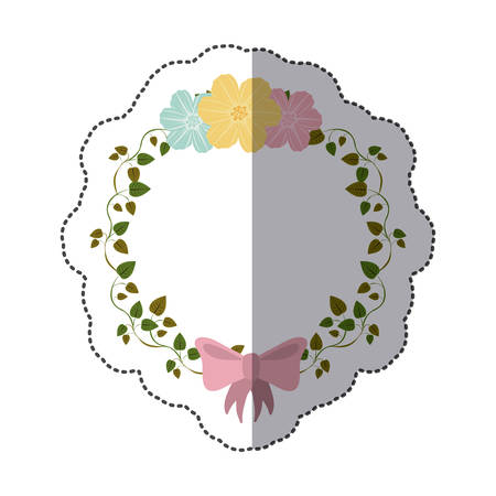 pink bow: sticker colorful ornament creepers with flowers and pink bow vector illustration