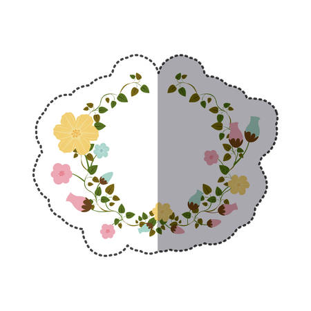 sticker half ornament creepers with flowers vector illustration