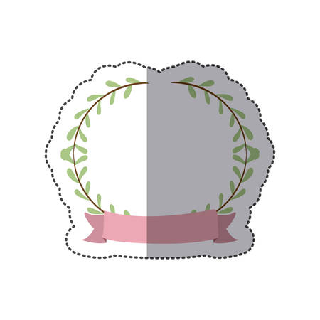 sticker border with leaves and label vector illustration