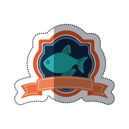 aquatic herb: sticker heraldic borders with crown branch with fish and label vector illustration