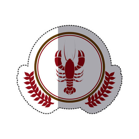 sticker dotted circular border with crown branch with lobster Illustration