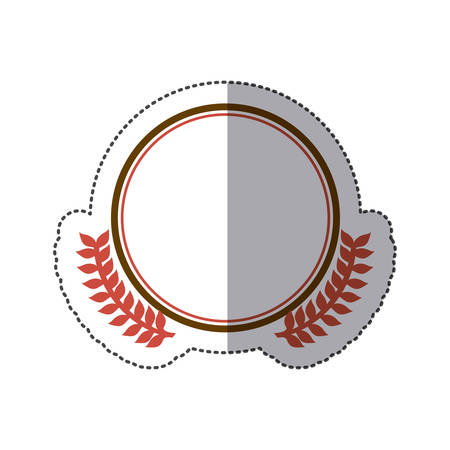sticker circular border with crown branch leaves vector illustration