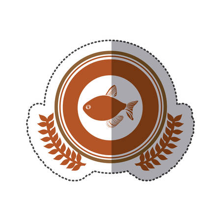 aquatic herb: sticker circular stamp border with crown branch with fish vector illustration