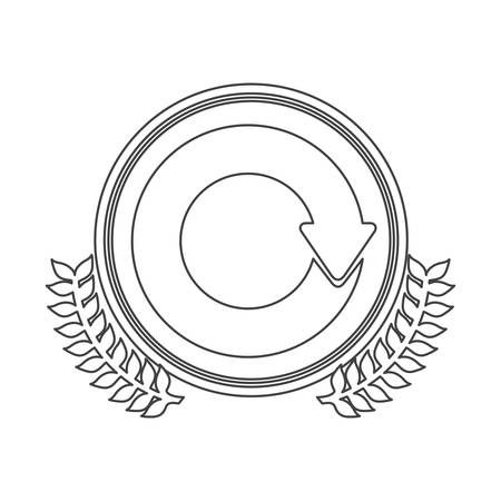 reloaded: monochrome silhouette circle with decorative olive branch and reloaded symbol vector illustration Illustration