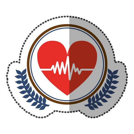 cardiograph: middle shadow sticker colorful with olive crown with heart with line of vital sign in circle vector illustration