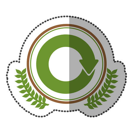 reloaded: middle shadow sticker colorful with olive crown with reloaded symbol in circle vector illustration