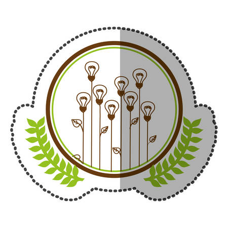 middle shadow sticker colorful with olive crown with lightbulb in shape flower in circle vector illustration