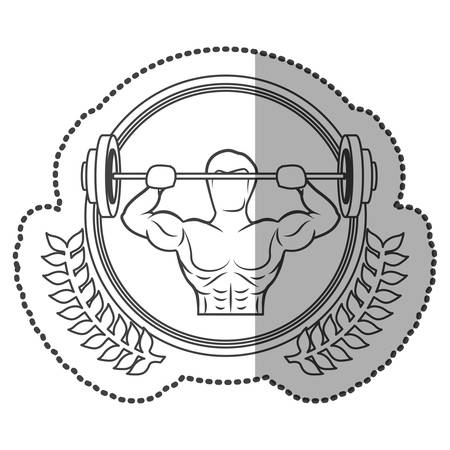 middle shadow sticker monochrome with olive crown with man weightlifting in circle vector illustration