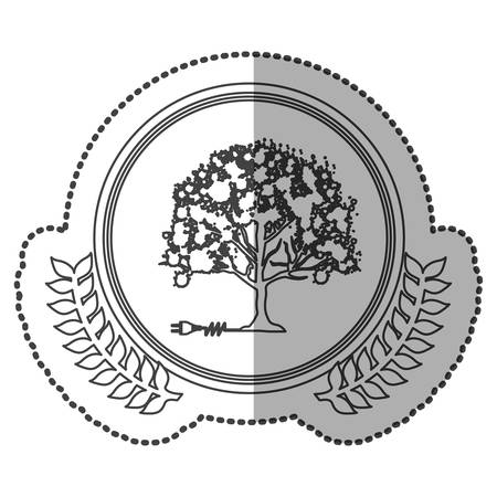 middle shadow sticker monochrome with olive crown with tree and plug connector in circle vector illustration