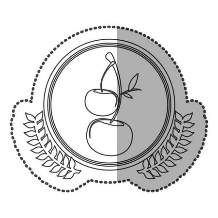 middle shadow sticker monochrome with olive crown with cherrys in circle vector illustration Illustration