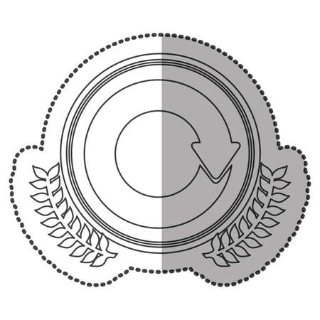 reloaded: middle shadow sticker monochrome with olive crown with reloaded symbol in circle vector illustration