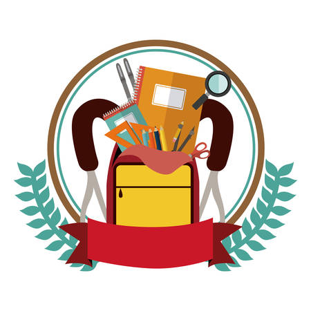 secondary: colorful olive crown with ribbon and school supplies in briefcase vector illustration