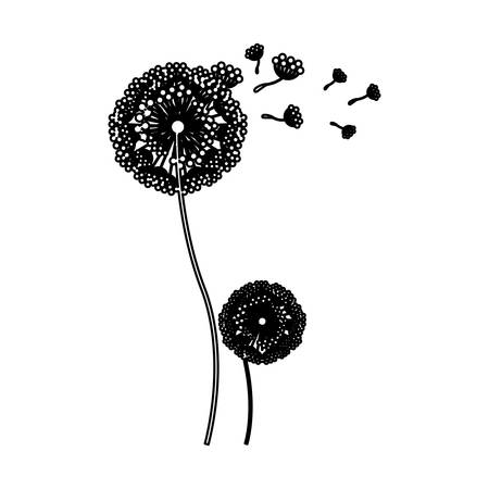 black silhouette couple dandelion and fly petals vector illustration