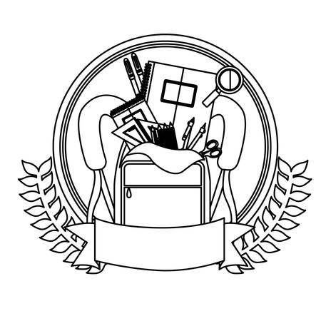 secondary: silhouette olive crown with ribbon and school supplies in briefcase . Vector illustration Illustration
