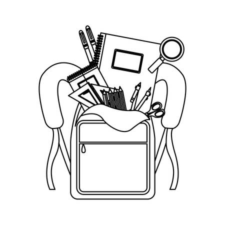 secondary: silhouette school supplies in briefcase vector illustration