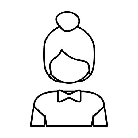 collected: silhouette half body collected hair woman vector illustration