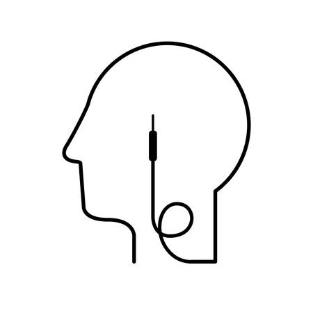 black silhouette head with jack connector vector illustration Illustration
