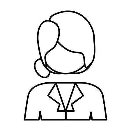 collected: contour half body collected hair woman vector illustration Illustration