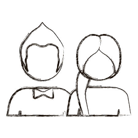 him: blurred silhouette with half body couple without face she long hair and him with bow tie vector illustration