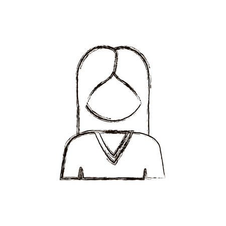 man long hair: blurred silhouetet half body woman with long hair without face vector illustration Illustration
