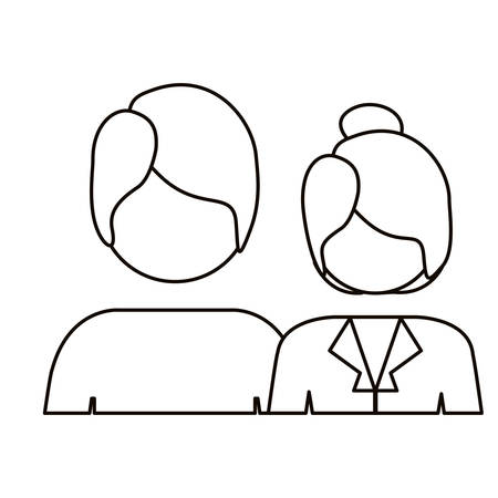 long hair boy: monochrome contour with half body couple without face and both with short hair vector illustration