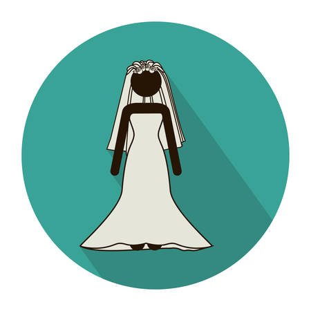 circular shape with pictogram of bride with costumes vector illustration