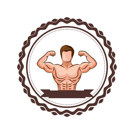 colorful border with half body muscle man and label vector illustration Illustration