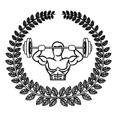contour arch of leaves with muscle man lifting a disc weights vector illustration