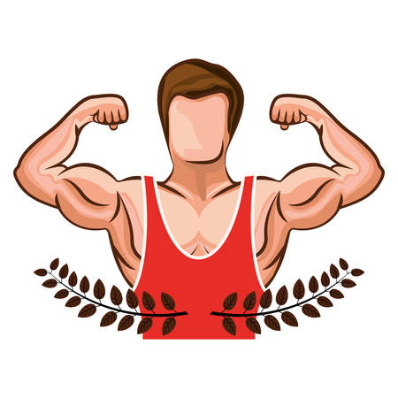 muscle man: crown leaves with half body muscle man with unsleeved shirt vector illustration