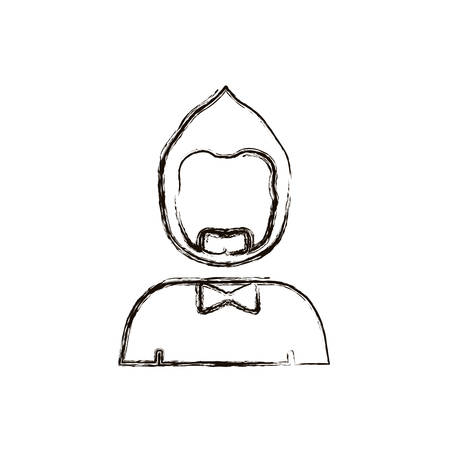 sir: blurred silhouette half body man with beard without face and bow tie vector illustration