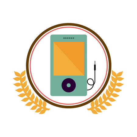 portable audio: colorful silhouette circle with decorative olive branch and portable music device vector illustration Illustration
