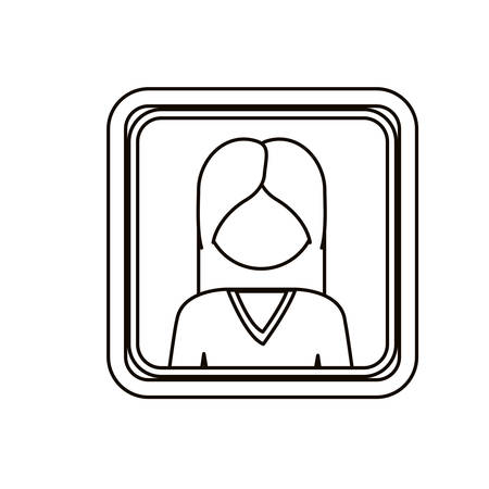 man long hair: monochrome contour square with half body woman with long hair without face vector illustration