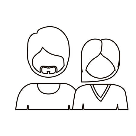him: monochrome contour with half body couple without face she long hair and him with beard vector illustration