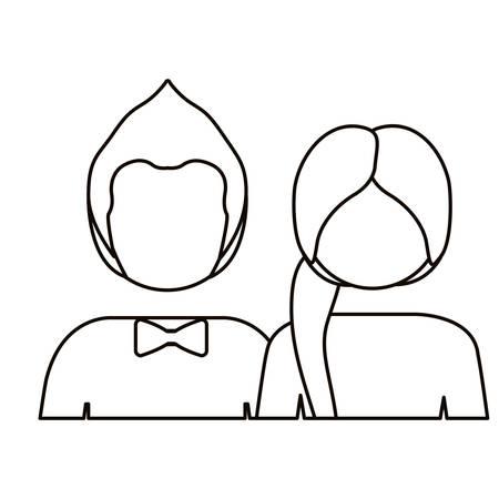 Monochrome Kontur mit halben Körperpaar ohne Gesicht sie Ponny Schwanz und ihn mit Fliege Vektor-Illustration Standard-Bild - 70682699